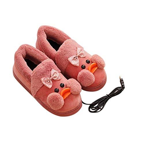 GaoF Fußwärmer Elektrisch beheizte Hausschuhe Beheizte Schuhe bei kaltem Wetter, Bequeme Plüschschuhe zum Warmhalten des Fußes, strapazierfähige rutschfeste Sohle