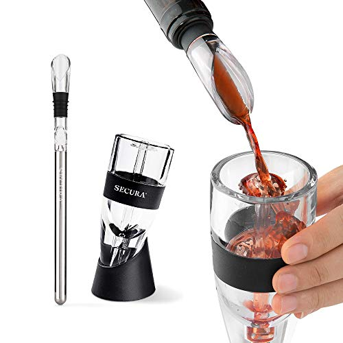 Secura Red Wine Decanter Aerator Wine Air Aerator with Wine Chilling Rod Stainless Steel Wine Chiller Stick