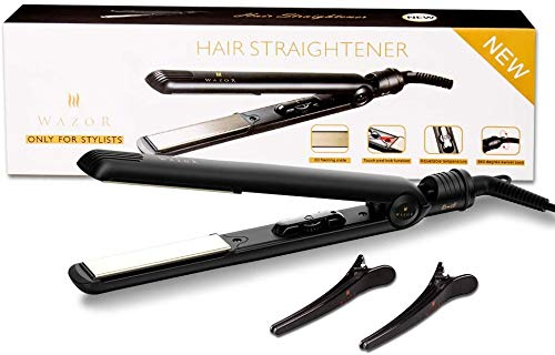 Professional Negative Ion Hair Straightener,Ceramic Flat Iron with 1 inch Titanium Styling Plates,Rotating Adjustable Temperature for All Hair Types,Auto Shut Off,Dual Voltage,Black