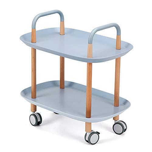 AP.DISHU Wohnzimmer Ende Tabellen, 2 Tier Rollzweckwagen Holzregal Service-Wagen Kaffeewagen, Durable Regal-Speicher Trolley,Blau
