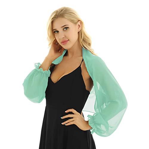 CHICTRY Women's Chiffon Long Sleeve Shawl Open Front Bolero Shrugs Jacket Cardigan Light Green One Size