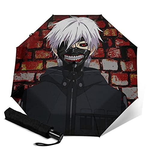 Anime Tokyo Ghoul paraguas plegable portátil automático para mujeres y hombres reforzado resistente al viento marco impermeable y resistente a los rayos UV