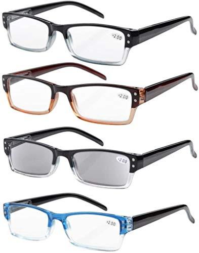 Eyekepper 4er-pack Rechteckige Lesebrille mit Federscharnieren und sonnen schützt Gläser +1.25
