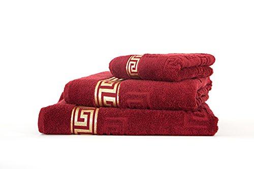 Lujosa toalla Medusa 50 x 90 cm en pack de 4 – fino hilo de algodón / tejido jacquard / rizo de pelo largo con relieve plano Medusa y ribete dorado (burdeos, 4 toallas de mano de 50 x 90 cm)