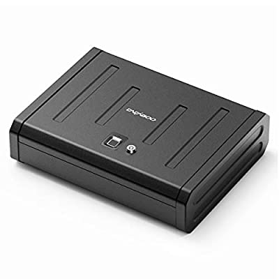 CACAGOO Biometric Gun Safe, Smart Pistol Safe for Home, Handgun Safe Quick Access with Auto Open Lid, Black