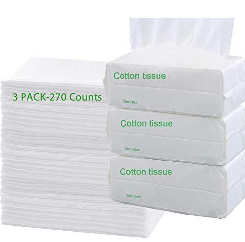 3 paquetes de 3 toallitas de limpieza facial 100% algodón seco y húmedo de doble uso natural grueso sin perfume, almohadillas suaves para eliminar el maquillaje (270 toallitas en total)