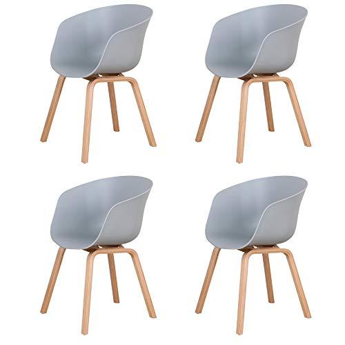 BenyLed Pack de 4 Sillas Comedor Nórdicas con Reposabrazos Diseño Moderno Salón Cocina, Silla Oficina con Patas de Madera (Gris)