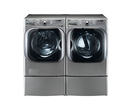 "LG TITAN BUNDLE SPECIAL!-Complete 29"" Mega-Capacity Laundry System with Steam and Matching Storage Pedestals in Graphite Steel Color"