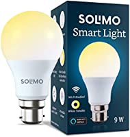 Amazon Brand - Solimo Wi-Fi Smart Light, 9W, B22 Holder, Alexa Enabled (Yellow/Light Yellow/White)