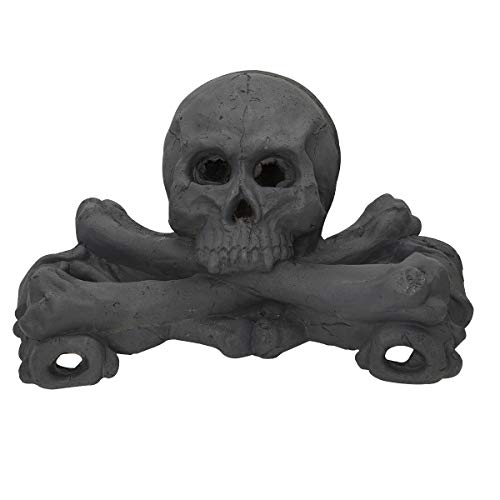 """Dimensions: 16"""" x 8"""" x 6.5"""", Includes: 1 skull and bones in gray color. Fire-proof skull, fireproof cement, and totally non-toxic, fireproof paint. Skulls and bones are safe to use in a wood fire or gas fireplaces and fire pits. Add realism, you and ..."""