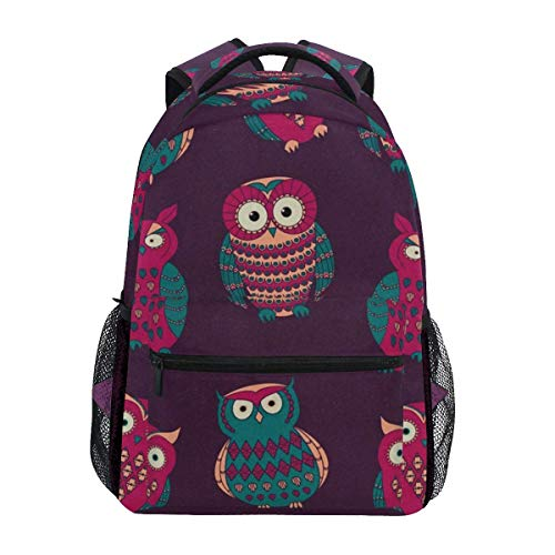 Backpack Sports Backpack,Colorful Cute Different Owls Pattern College School Book Bag Little Kids Travel Daypack 40cm(H) x29cm(W)