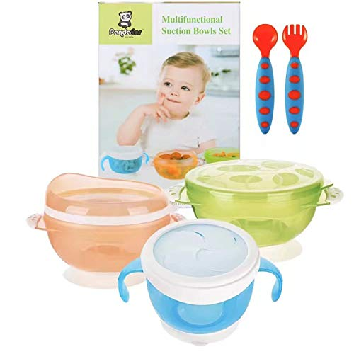 PandaEar Baby Toddlers Infants Feeding Set Adjustable Silicone Bibs Suction Bowls Divided Plates Soft Spoon Cup Holder /& Self Feeding Aids