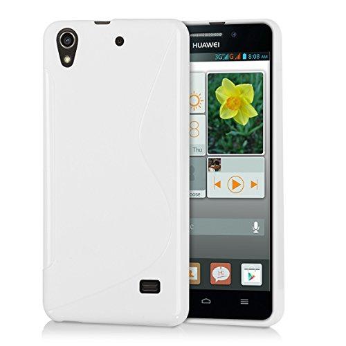 kwmobile Hülle kompatibel mit Huawei Ascend G620s - Hülle Handy - Handyhülle - S-Line Weiß