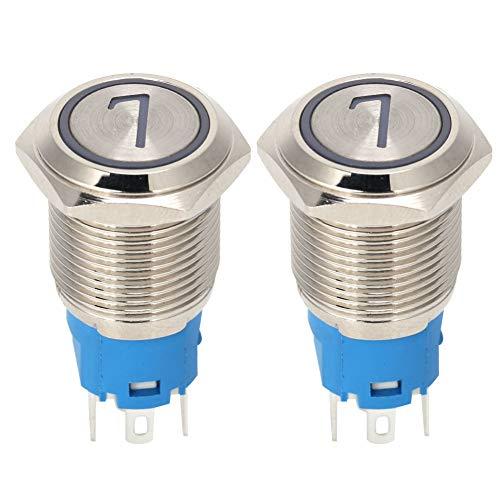 wxf Interruptor De Botón De Acero Inoxidable De 5 Clavijas Interruptor De Auto-reinicio De 16 Mm con Luz Y Amplificador; Número 7 12vdc Blanco 2pcs