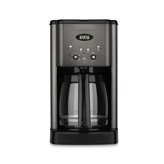 Cuisinart DCC-1200BKS 12 Cup Brew Central Coffee Maker, Black Stainless Steel 1 Classic stainless design 12 Cup carafe with ergonomic handle, dripless spout and knuckle guard Brew Pause feature lets you enjoy a cup of Coffee before brewing has finished Adjustable heater plate (low, medium, high) ensures that your Coffee stays at the temperature you like best