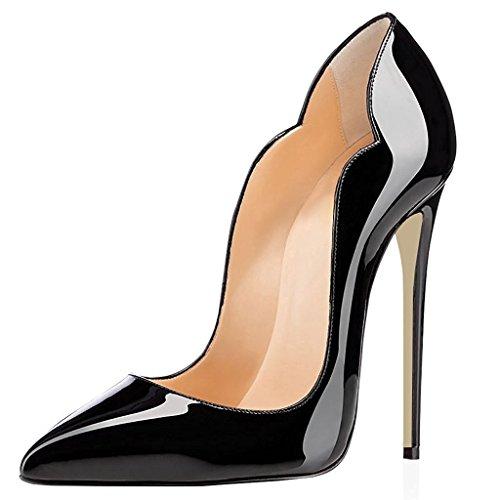 elashe- Scarpe Decolte Donna - 12CM Scarpe col Tacco Pointed Toe - Classiche Scarpe col Tacco Nero EU37