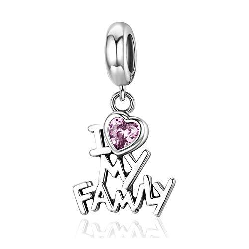 NINGAN Dije familiar para pulsera Pandora Charms y regalos de cumpleaños para el día de la madre para mujer, colgante de corazón de amor con circonita cúbica para collar en plata de ley 925