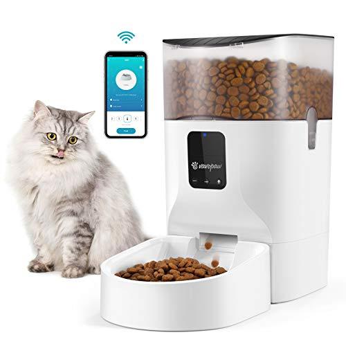 VavoPaw Comedero Automático para Mascotas, 7 L Alimentador Inteligente Gran Capacidad Control Remoto 1-10 Porciones Comidas Grabación de Voz para Perros Gatos, Blanco