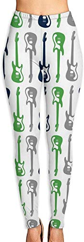 MODORSAN Leggings con Estampado 3D de Guitarra Verde, Negro y Gris para Mujer, Mallas elásticas de Yoga Suaves para Entrenamiento, Mallas elásticas de Motociclista con Estampado Suave-L