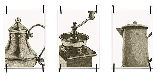 Myprinti® Keukenafbeeldingen, posters, foto's voor de keuken, keukenposter, kunstdruk, moderne wanddecoratie, keuken decoratie, koffiekan, koffiemolen, zwart-grijs