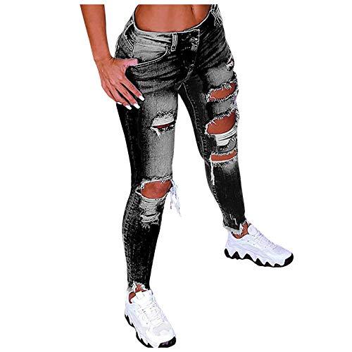 YANFANG Pantalones Vaqueros de Cintura Baja con Agujeros de Color sólido para Mujer, Pantalones Acampanados en el Tobillo, Pantalones de Moda,Black,XXL