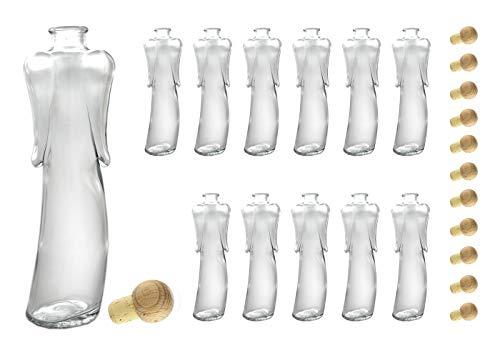 12 x 200ml Angelica Leere Glasflaschen - Schnapsflaschen - Likörflaschen - Flasche Engel mit Korken