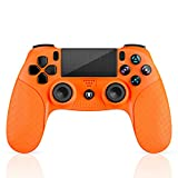 Mando PS4, Mando Inalámbrico con Vibración Doble/3D Sensores de Movimiento/Panel Multitáctil/3.5mm Puerto de Audio, Bluetooth Gamepad Controlador para PS4/Pro/Slim/PS3/PS5/PC/Laptop(Naranja)