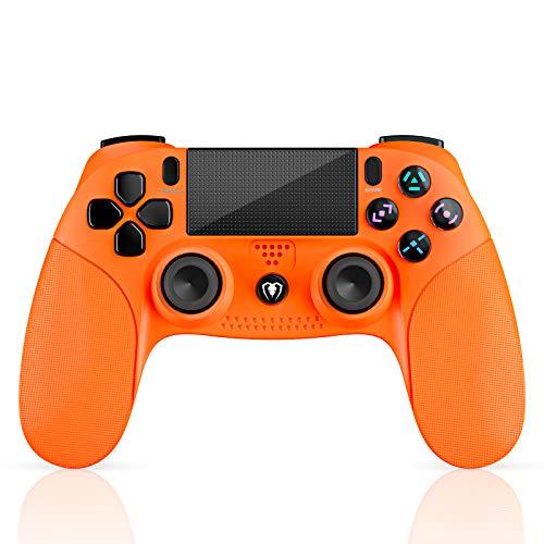 Mando PS4, Mando Inalámbrico con Vibración Doble/3D Sensores de Movimiento/Panel Multitáctil/3.5mm Puerto de Audio, Bluetooth Gamepad Controlador para PS4/Pro/Slim/PS3/PS5/PC/Laptop(Naranja)