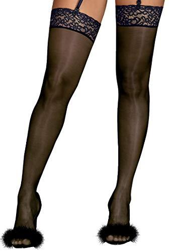 Obsessive (EU) transparente Strapsstrümpfe mit klassischer Spitze - Damen Unterwäsche (20200231 Drimera L/XL)
