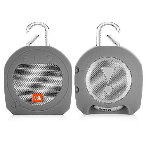TXEsign Protective Silicone Stand Up Case for JBL Clip 3 Waterproof Portable Bluetooth Speaker (Grey)