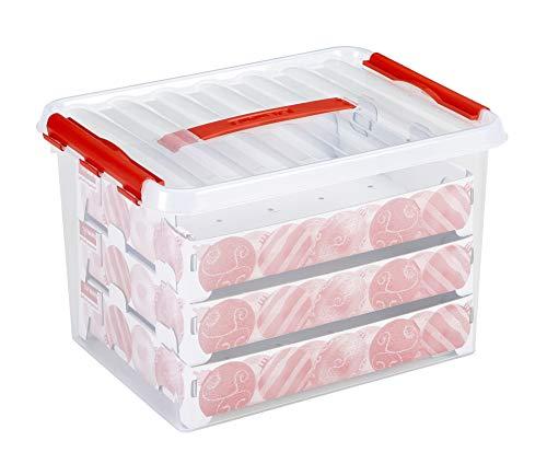 Sunware Q-Reihe Box für Weihnachtsdekoration mit Tabletts für 60Kugeln, transparent/rot, Einheitsgröße