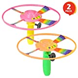 ArtCreativity Pull Cord UFO Flying Saucers - Set of 2-10 Inch Space Ship Toys - Fly Over 65 Feet - Birthday Party Favors, Gift Idea for Boys and Girls, Carnival and Contest Prize - Colors May Vary