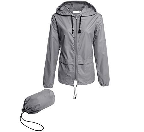 Hount Womans Lightweight Rainwear Active Outdoor Cycling Running Rain Jacket (S, Gray)