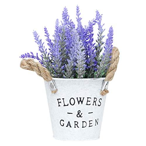 Cabilock Künstliche Lavendel im Topf Lila Kunstblumen Kunstpflanze Blumen Bouquet Pflanzen Set Faux Töpfe Mini Bonsai Topf für Frühling Hochzeit Wohnzimmer Deko Objekt Schreibtisch Büro Tischdeko