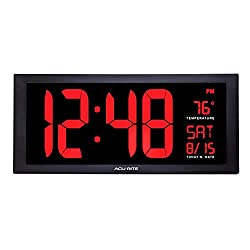 "AcuRite 75100 Large 18"" Digital LED Wall Clock with Date, Temperature and Fold-Out Stand, Inch, Red"