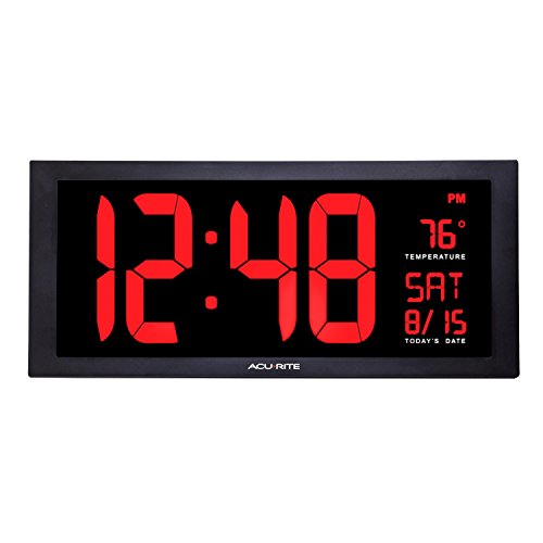 AcuRite 75100 Large Digital Clock with Indoor Temperature | LED Wall Clock with Date and Fold-Out Stand - 18'