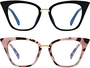 MORESHINE 2 Pack Cateye Anti Blue Light Blocking Computer Glasses Fashion Women Eyeglasses Frames Anti UV Clear Lens (Black+Pink Tortoise)