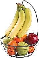 mDesign Fruit Basket with Banana Hook - Modern Fruit Bowl with Banana Holder for the Kitchen Counter - Practical Fruit...