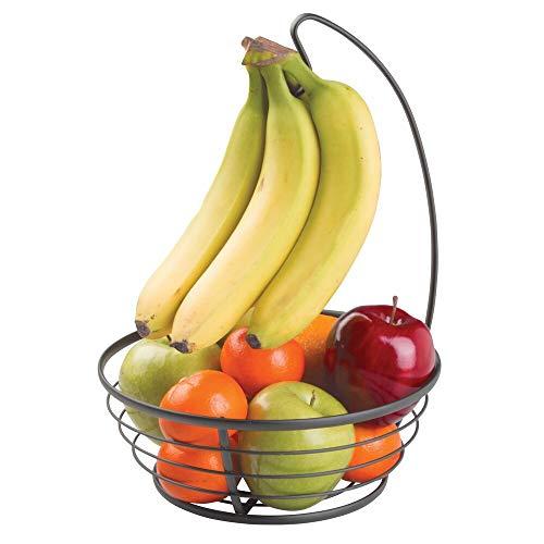 mDesign cesto per frutta con porta banane in metallo – Ciotola moderna per frutta con porta banane per il piano di lavoro – Pratico cesto per frutta e verdura – Nero opaco