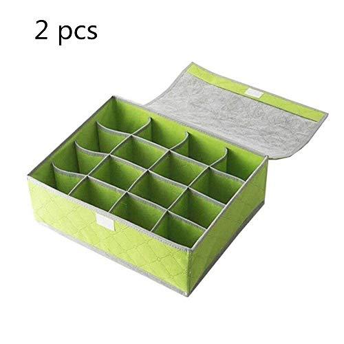 ZXL Lineary-Organizer Ondergoed Box Opslag 16 Cellen Vlieskool Bamboe Opvouwbare Fiber Opbergdoos Ondergoed Sokken Bra Ties Cabinet Lade Voor Vrouwen Dames (Kleur: Groen)