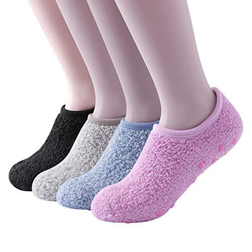 SKOLA 4 Cozy Winter Fuzzy Women Socks,Grip Slippers,Fluffy House Non Skid (Black/Light Khaki/Light Blue/Pink 4Pairs)