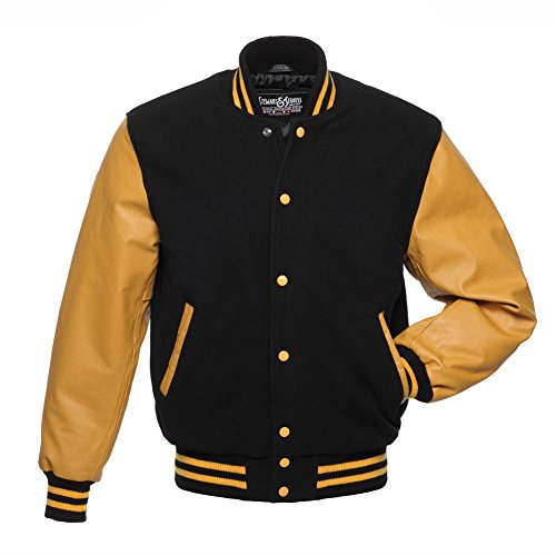 C134-M Varsity Letterman Jacket Black Wool & Gold Leather