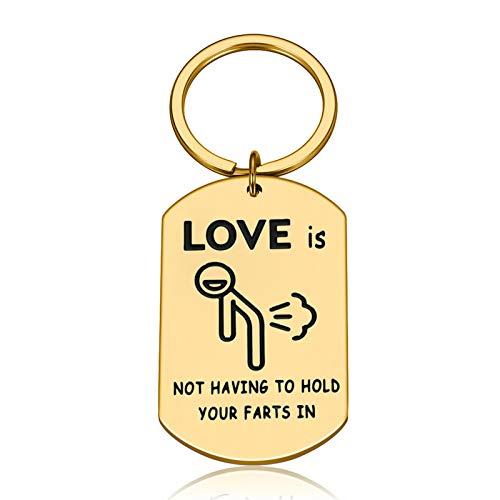 XUFAN Llavero de Regalo de Novia para Novios para Marido Esposa Pareja Llavero para prometido prometido Familia rudo Personaje Regalo de San Valentín Llavero (Color : Gold)