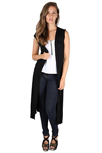 Fast Fashion Frauen Cardigan Plain Ärmellos Vorne Offen Flared Maxi