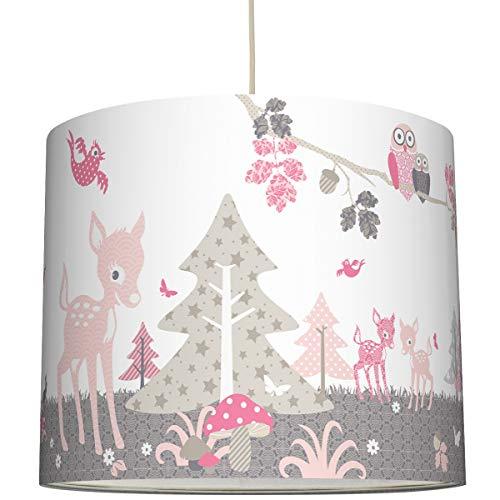 anna wand Hängelampe REHLEIN ROSA/TAUPE – Lampenschirm für Kinder/Baby Lampe mit Rehkitzen und Waldtieren – Sanftes Kinderzimmer Licht Mädchen & Junge – ø 40 x 34 cm