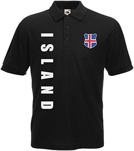 AkyTEX Island EM-2020 Polo-Shirt Wunschname Wunschnummer Schwarz XL