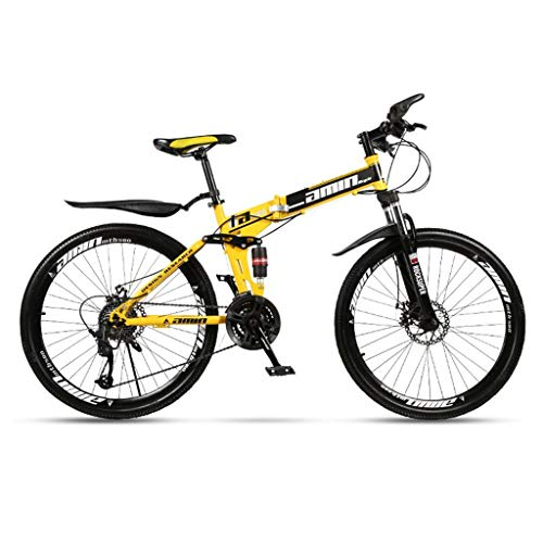 Gq2019 Folding Mountain Bike for Men and Women Bicycle 24/26 Inches,High Carbon Steel Suspension Frame, Rubber Grips,Spoke Wheel (Color : 27-Stage Shift, Size : 24inches)