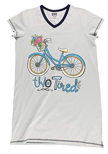 Lazy One V-Neck Nightshirts for Women, Animal Designs, Bike, Flower Basket, Spring (Two Tired, S/M)