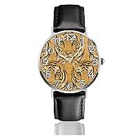 クルミ虎 腕時計 レザーウオッチ 防水 耐衝撃性お よび耐磁性 男女兼用 贈り物 銀 カジュアル アンチスリップ