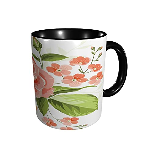 Taza de café rosa maravillosa taza de té rosa tamaño 12 oz tazas de café de cerámica para restaurante, café, oficina, hogar